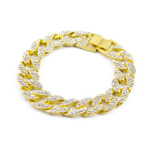 Buy gold color hip hop Iced bling bling 1.5cm width 20cm long size cuban link chain bracelet men jewelry for $7.22 in AliExpress store