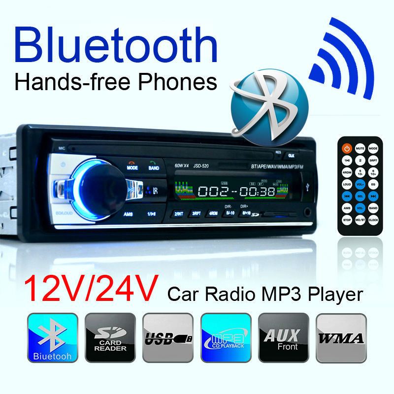 Car Radio Stereo Player Support Bluetooth Phone AUX MP3 FM/USB/remote control/ In-Dash 1 Din 12V / 24V Audio Auto - Pailord Outdoor Sports store
