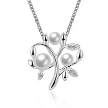 2016 Hot Silver Plated Tree Shape Pendant Necklace With Simulated Pearl Best Gift Creative Fashion Jewelry Europe Style Necklace(China (Mainland))