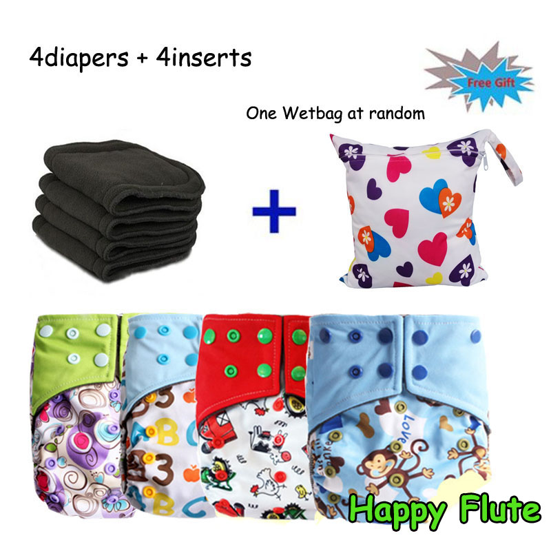 Happy Flute Double Guest Charcoal Bamboo Two Pockets Reusable Diaper Cover 4 Cloth Diapers + 4 Charcoal Inserts Free With Netbag<br><br>Aliexpress