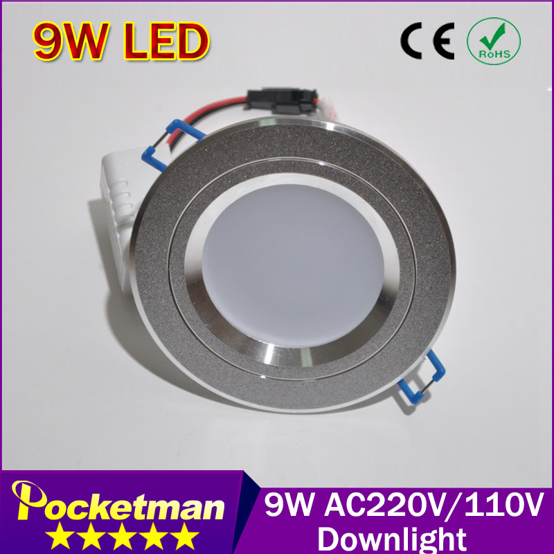 Free shipping Recessed LED Downlight light Lamps 9W For Home Lighting Decoration, White Warm White Brand Wholesale(China (Mainland))
