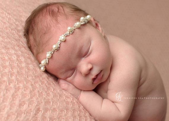 2015 Newborn Crystal Headbands Bling Headbands Pearl & Rhinestone Headband Phtography Props baby crystal headband 1 pcs(China (Mainland))