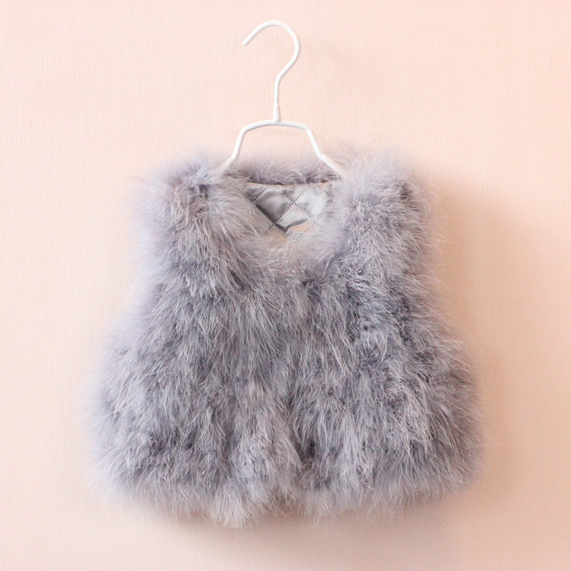 New Girls Baby Ostrich feather waistcoat fur childrens vest coat clothing wholesale autumn  <br><br>Aliexpress