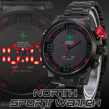 Male Sports Watch Analog Digital-watch LED Stainless Steel Date Outdoor Wristwatch Quartz Wrist Military Men Watch Sport 2016