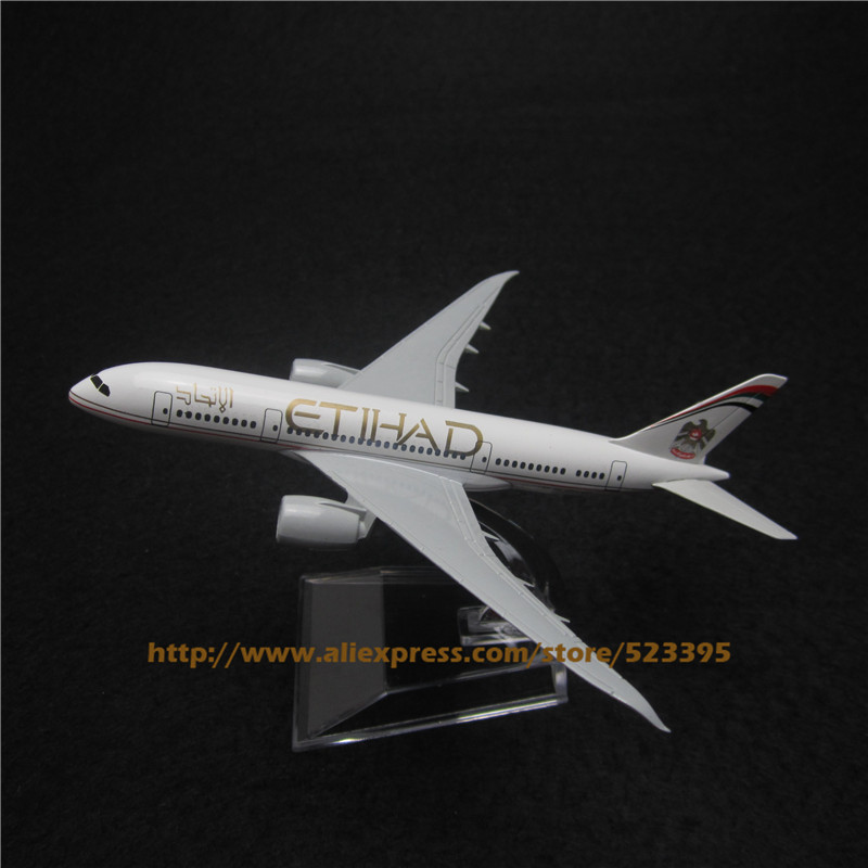 16cm Alloy Metal Airplane Model Etihad B787 Air Airlines Boeing 787 Airways Plane Model W Stand Aircraft Toy Gift(China (Mainland))