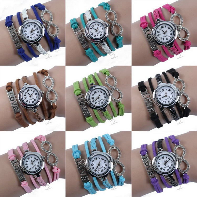 Hot sell new punk leather bracelet watch women fashion quartz watch girl clock Crystal Infinity love Handmade Wristwatch(China (Mainland))