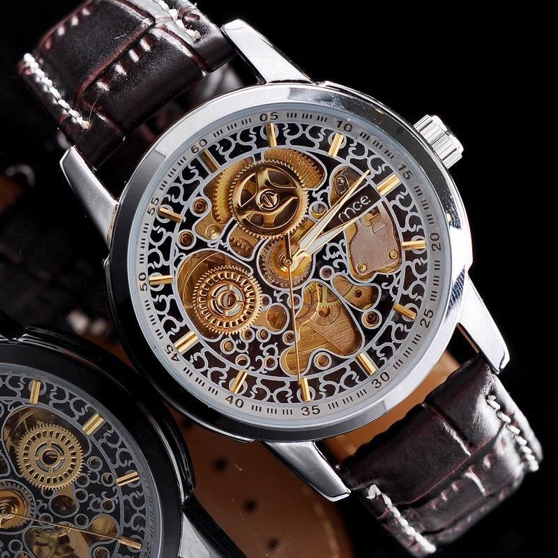 Watches men luxury brand 2014 Fashion MCE alloy Round Belt personality pattern hollow mechanical watches men Free Shipping<br><br>Aliexpress