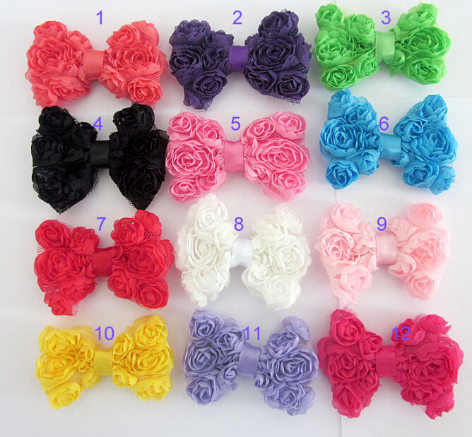 Children Headwear Hot girls rosette bow hairpin , women's side clip , hair accessories DIY accessories A188(China (Mainland))