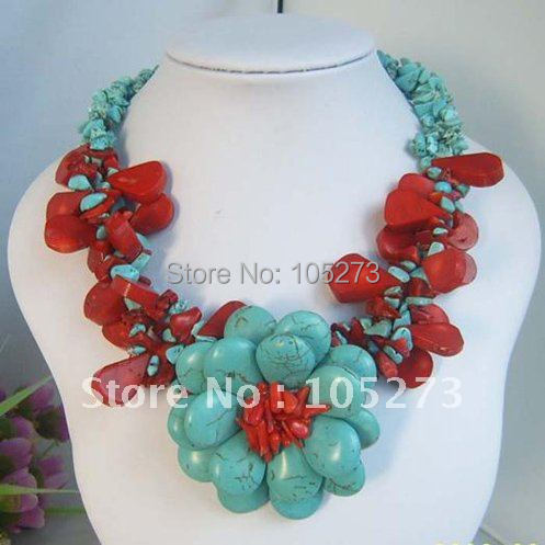 turquoise coral wired flower beaded wedding bridesmaid