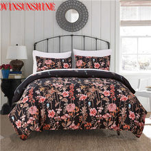LOVINSUNSHINE Satin Bed Set Luxury Duvet Cover Set Floral Bedding Set Luxury Solid Flat Sheet 70s Flower Printed Bedding Sets(China)