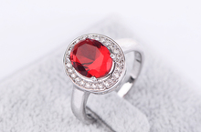 New Arrival White Gold Plated Elegant Ruby Ring For Women With Top Quality CZ Diamond Bridal