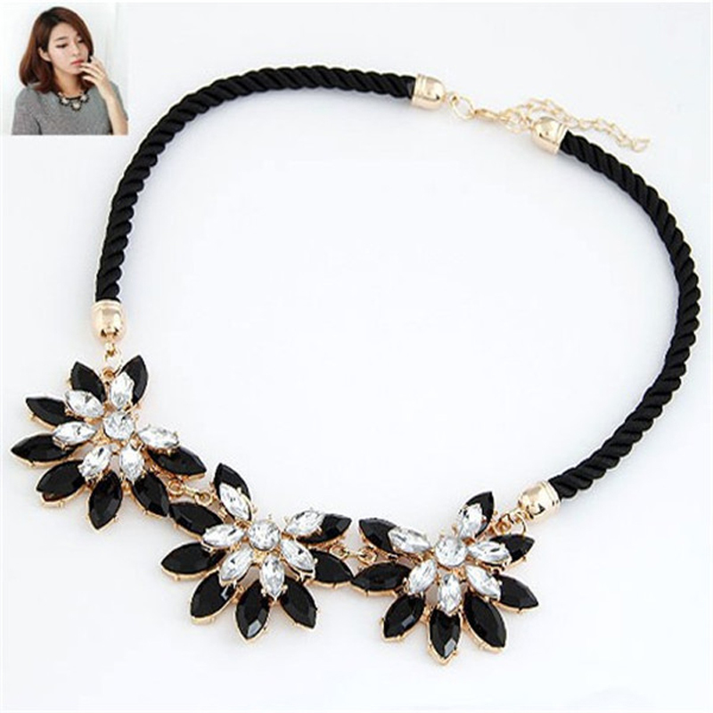 Collares 2015 Hot sale Rhinestone Necklace New Brand Style Crystal Collier multi layer Weave Flower water
