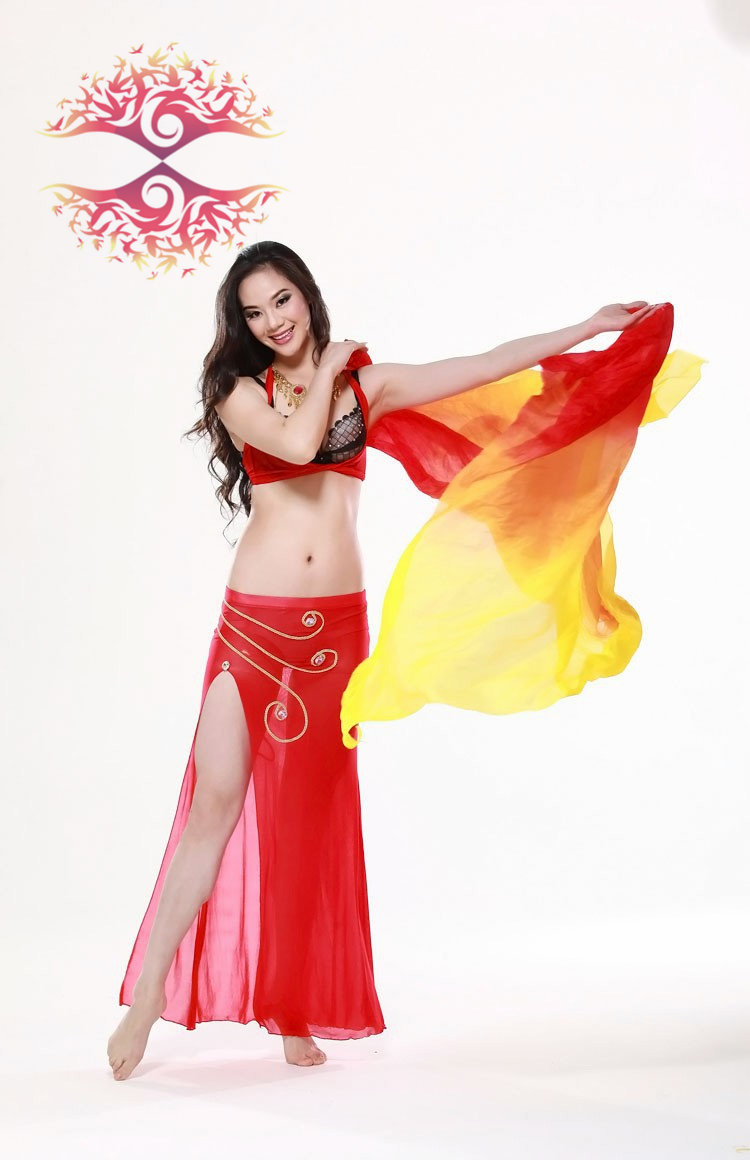 2015 New design women 100% real silk belly dance veil cheap belly dancing veils accessories red orange yellow 250*114 cm(China (Mainland))