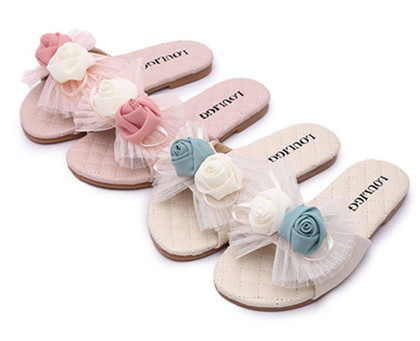 Girls Summer Sandals with flower Genuine Leather Fashion baby shoes Children Beach Light Shoes Sandals Girls Slippers Kids Shoe(China (Mainland))