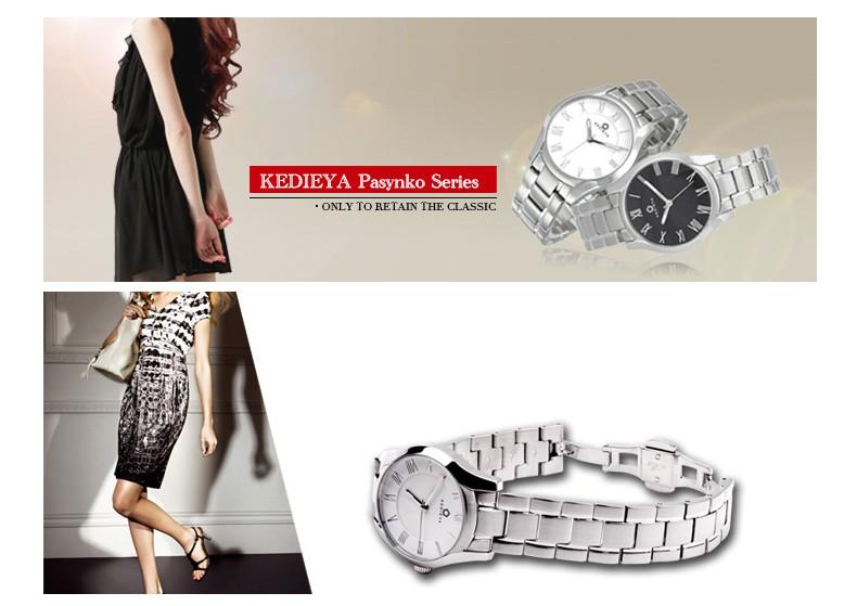 KEDIEYA Женщин Серебро Белый Черный Из Нержавеющей Стали Водонепроницаемые Часы Дамы Платье Часы Подарки