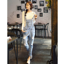 Free Shipping 2015 New Joker Jeans Woman Ripped Jeans Loose Casual Cotton Light Blue Jeans Jumpsuit Plus Size Hot Sales E78