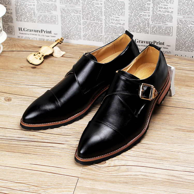 Hot sale men oxfords pointed toe genuine leather buckle men dress shoes brogues shoes size 39-43 от Aliexpress INT