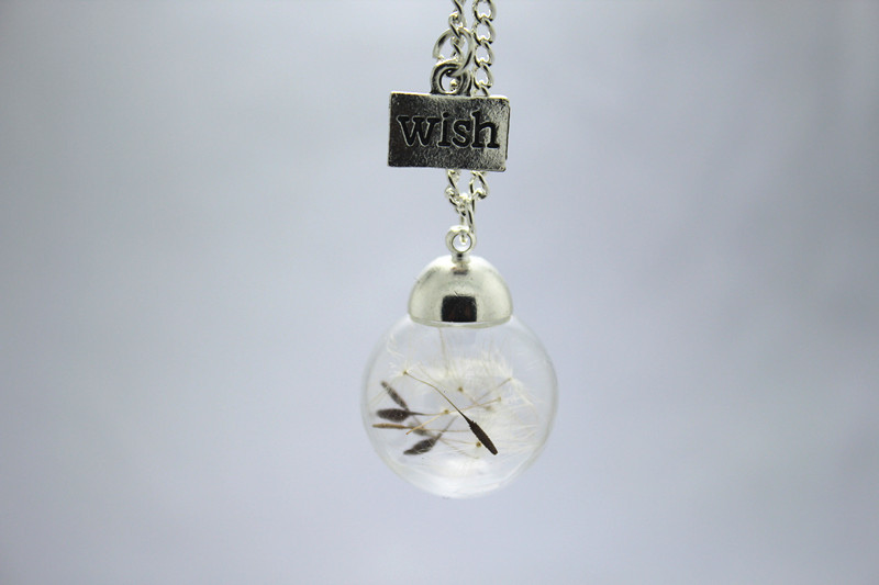 hot sale wholesale 8pcs/lot Make a Wish Bronze and silver chain glass Dandelion Real Dandelion Necklace(China (Mainland))