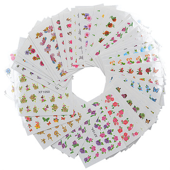 WUF 60 Sheets Mix Flower DIY Decals Nails Art Water Transfer Printing Stickers For Nails Salon