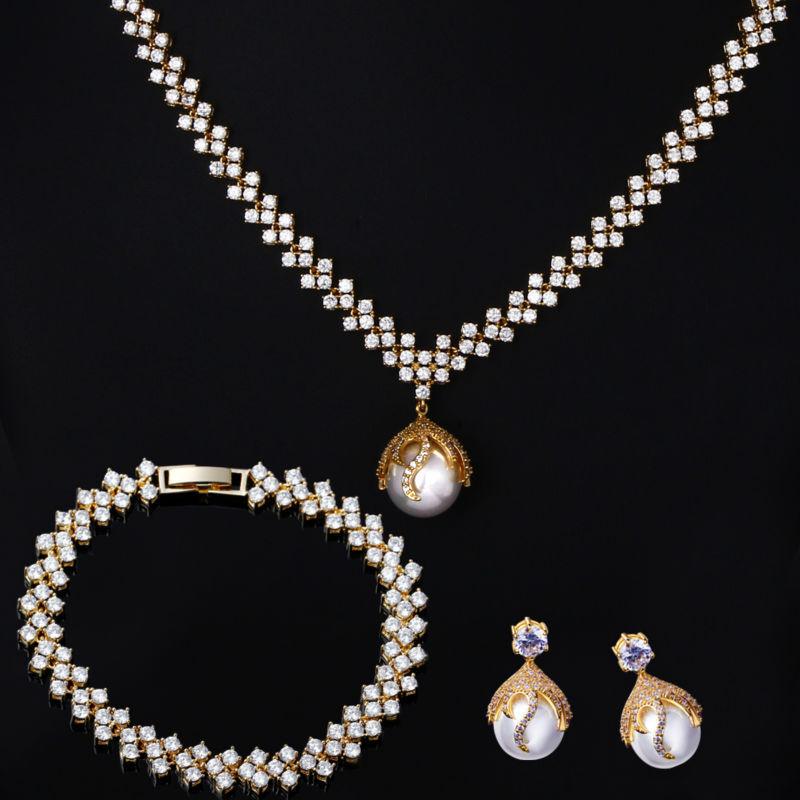European Style  Pearl Color Star Necklace  Bracelet Earrings Jewelry Sets Piece CZ Crystal Lead Free Vintage Jewelry Drop Ship<br><br>Aliexpress