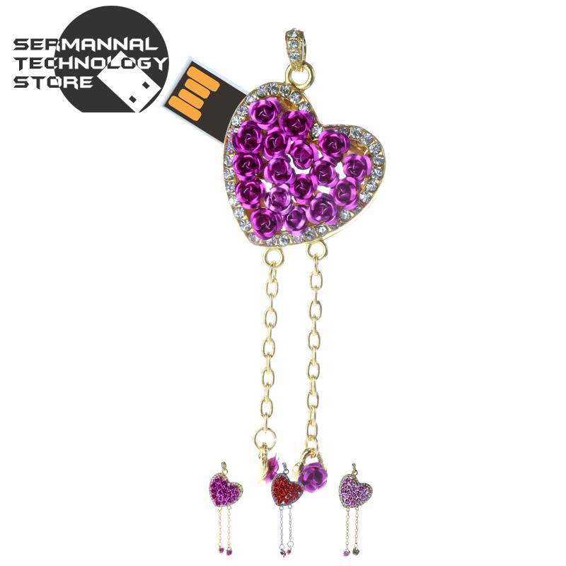 heart shaped Lanyard jewelry 4gb 8gb 16gb 32gb 64gb memory stick pen drive pendrive usb flash drive h2testw free shipping fast(China (Mainland))
