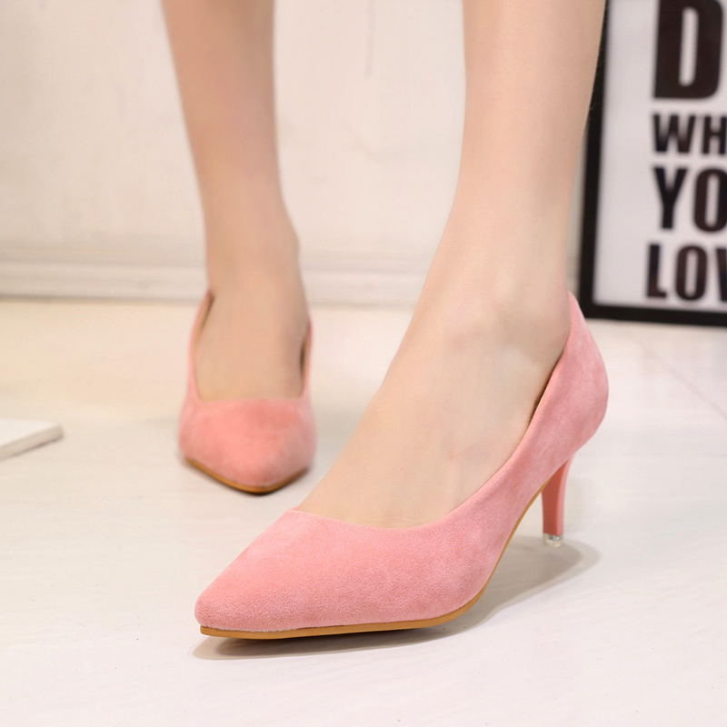 fashion more colors women pumps mature pointed toe slip-on high spike heels solid concise office lady shoes fashion trend(China (Mainland))
