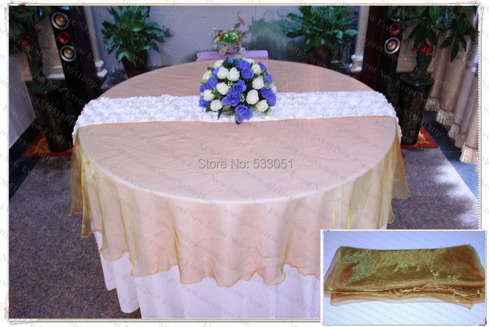 210cm Round NO.48 Color Organza Table Overlay/Table Cover/Tablecloth For New 2014 Wedding Party Home Hotel Banquet Decorations(China (Mainland))