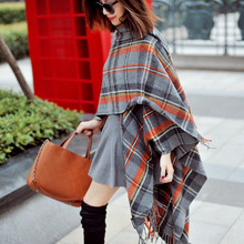 2015 autumn and winter hot-selling fashion plaid cloak hooded cape blanket scarf