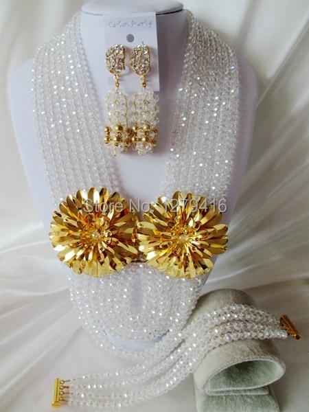 Fashion Nigerian African Wedding Beads Jewelry Set , Crystal Necklace Bracelet Earrings Set C1460<br><br>Aliexpress