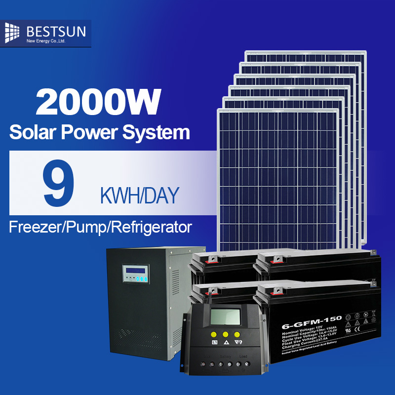 Green energy 2000w solar photovoltaic power system solar energy system for home power inverter off grid solar generator system(China (Mainland))
