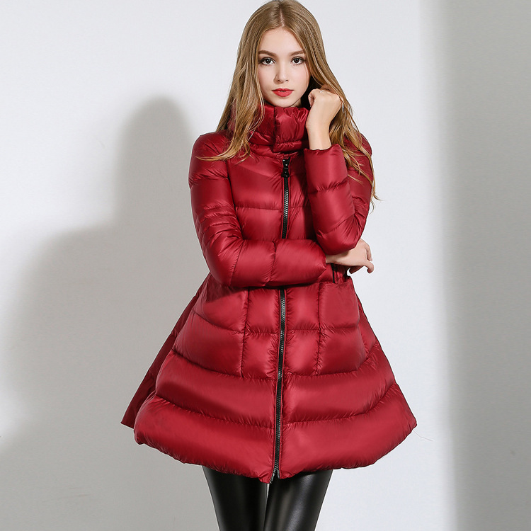 2015 Fashion Zipper Thick Swing Coat Warm White Duck Down Winter Jacket Women Breathable Manteau Femme Red Black Abrigos Mujer