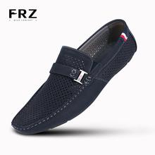 2016 FRZ hombre de los holgazanes transpirable acción cuero de hombre zapatos de los planos de verano primavera Casual Shoes para el hombre Sapatos Masculinos CE86803(China (Mainland))