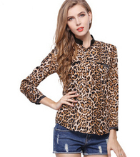 New Fashion Women Leopard Print Casual Shirts Tops Long Sleeve European Style Women's Vintage Blouses Plus Size (China (Mainland))