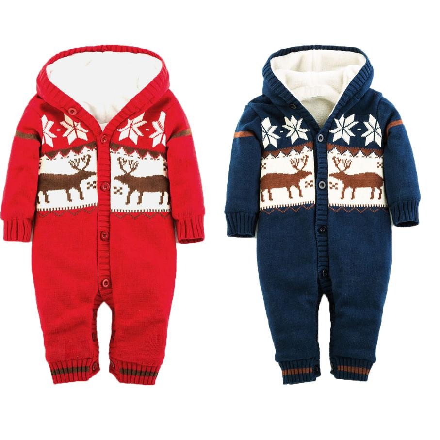 2015 New Christmas Deer Baby Boy Winter Clothes Thickening Baby Rompers Cartoon Baby Girl Winter Coverall Hooded Baby Clothing(China (Mainland))