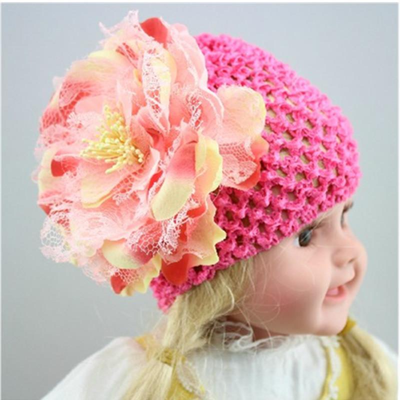 New 5 colors Newborn Baby Toddlers Girls Daisy Flower Crochet Beanie Knitted Cap Hat(China (Mainland))