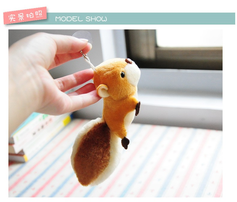 Small Squirrel Plush Stuffed Toy Oversized Tail Pendant Doll Hangings (2)