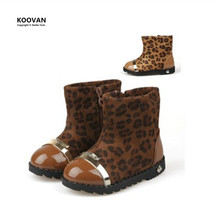 Koovan Clearance Sale 2017 Winter Models Side Zipper Soft Sole Baby Leopard Shoes Girls Boots Cotton Boots Kids Children's Snow(China (Mainland))