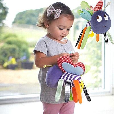 Infant Newborn Baby Pram Bed Toys Bells Soft Hanging Toy Animal Handbells Rattles for Little Kids(China (Mainland))