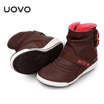 Бренд Uovo детская обувь 2015 зима осень весна дети короткие сапоги клин спортивной обуви черный коричневый туфли-botas для девочек ес 28 - 36