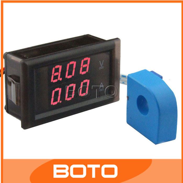 5pcs Current Dual Measure Meter 100V/50A Digital Voltmeter Ammeter 2in1 Red LED  Display  Current Dual Measure Meter#200957