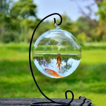 creative hanging bottle transparent fishbowl handmade round ball flower vase elegant home. Black Bedroom Furniture Sets. Home Design Ideas