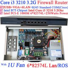 1U network router firewall pc,barebone with 6 Gigabit 82583v LAN Intel Core i3 3210 3.2Ghz Wayos PFSense ROS(China (Mainland))