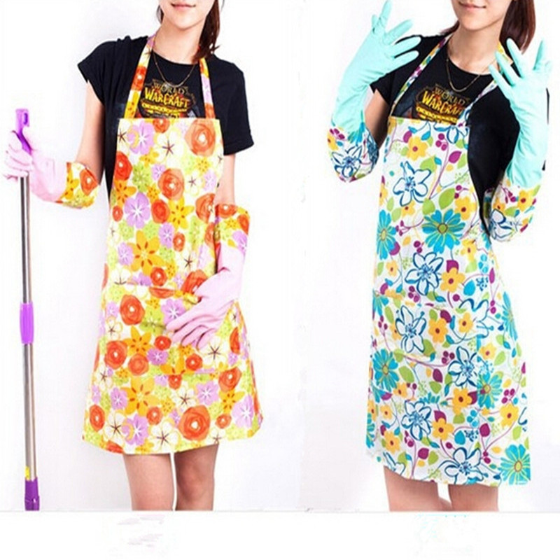 Flower Printing Fashion Women Plastic Kitchen Aprons Cleaning Cooking Cheap Aprons Goodhelper Chef Aprons For Woman Free Ship(China (Mainland))