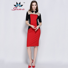Sana Good Quality 2016 women autumn winter dress bodycon jersey sexy Peter pan collar XXL plus size vesido desigual dress