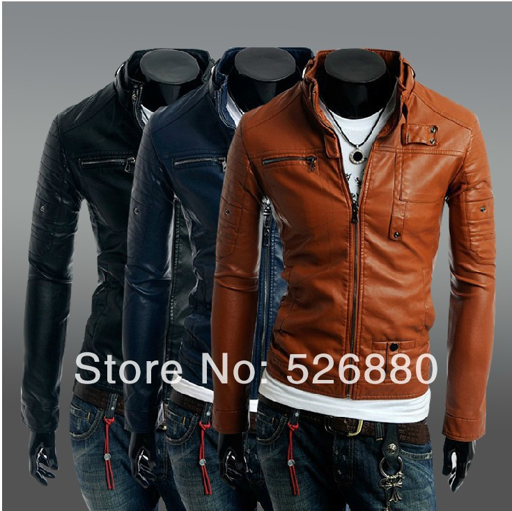 2015 Fall Winter New Clothing Zipper Buttons Men's Motorcycle Leather Jacket Fashion Casual Slim Fit Outdoor Coat - No. 1 shop store