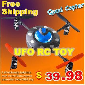 Free Shipping 2.4G 4ch mini ladybird quadcopter RTF UFO remote control helicopter Udirc U816 radio control rc toys kidS toys
