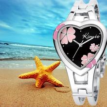Kimio señora pulsera moda para mujer reloj de cuarzo del amor del corazón Lucky trébol patrón de línea mujeres reloj envío gratis