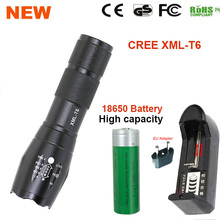 E17 LED Flashlight 18650 zoom torch waterproof CREE XM-L T6 3800LM 5 mode led Zoomable light by 3x AAA  or 3.7v 18650 Battery(China (Mainland))