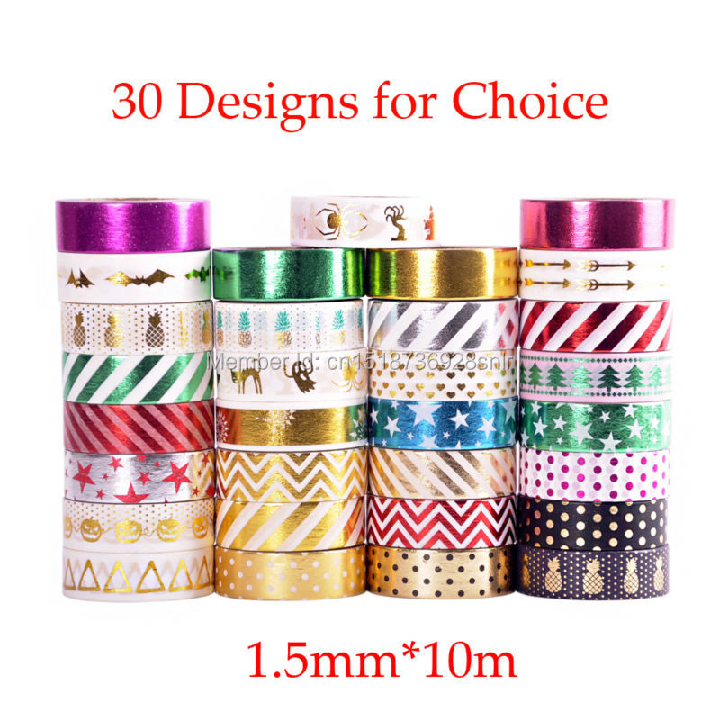 Adhesive Gold Foil Stamping Fine Lines Japanese Washi Tape Scrapbooking Tools Papelaria Decorative Masking Tape Lot 1.5cm*10m(China (Mainland))