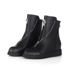 Autumn winter warm newest hot height increasing women boots wedges genuine leather round toe martin boots platform ankle boots